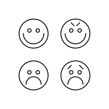 Emoji icon set. Happy and sad emoticons in linear flat design style. Vector illustration.