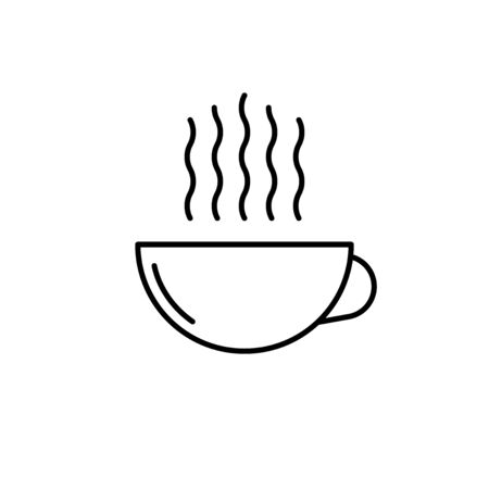 Coffee cup linear flat icon. Hot drink vector symbol.