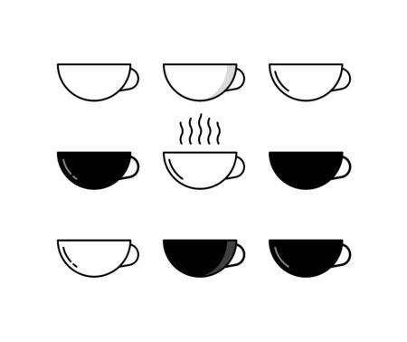 Coffee cups icon set in flat design style. Linear vector icons.