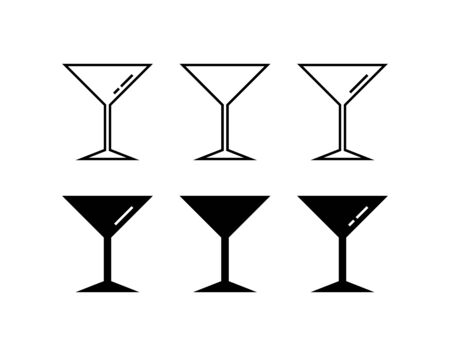 Martini glass icons in flat design style. Vector icon set.