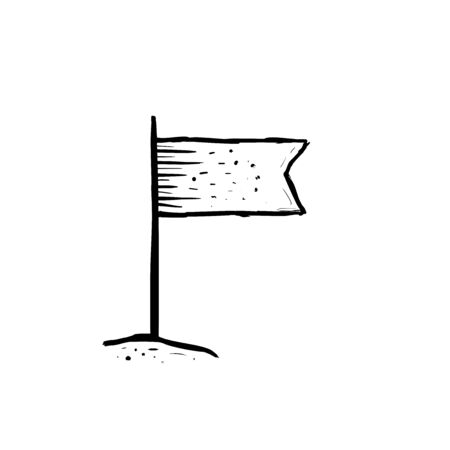 Flag. Hand drawn sketch in doodle style. Vector illustration.