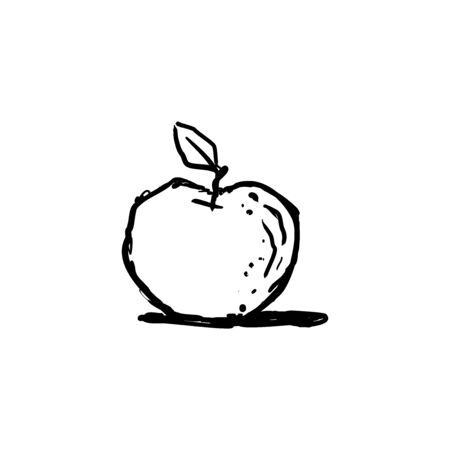 Apple. Hand drawn vector sketch in doodle style.
