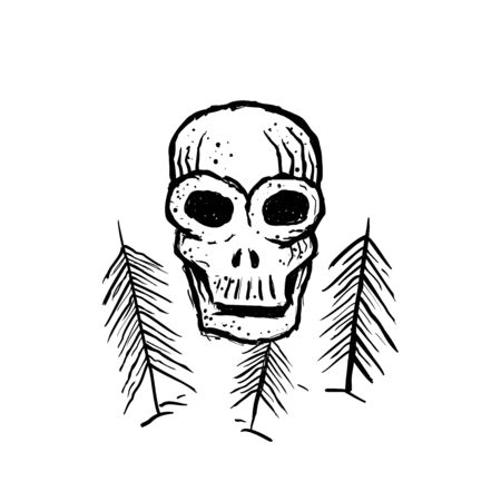 Skull and trees. Hand drawn abstract sketch in doodle style. Vector illustration.
