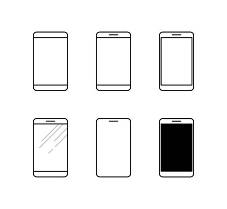 Smartphone icon set. Mobile phone line vector icons in flat design style.