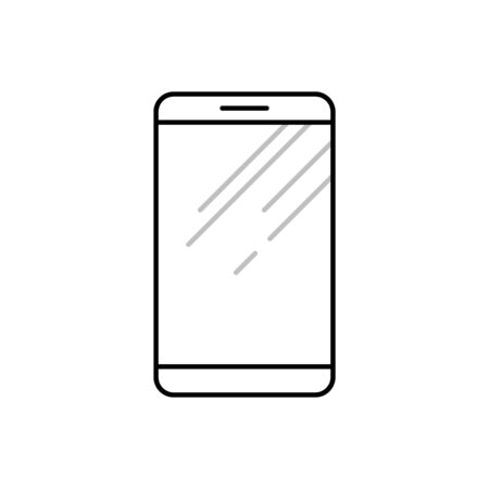 Smartphone line icon in flat design style. Mobile phone outline vector symbol. Illustration