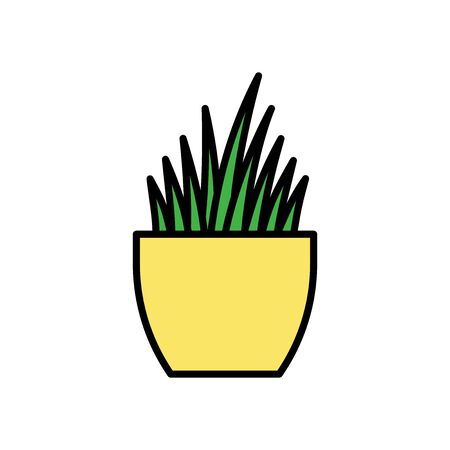 Indoor plant in a pot. Vector icon in flat design style.