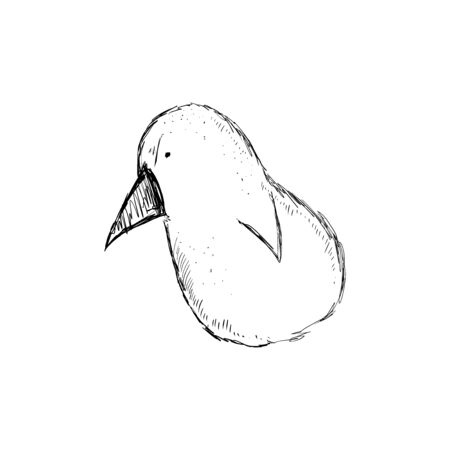 Angry pigeon. Cartoon character. Hand drawn vector sketch.