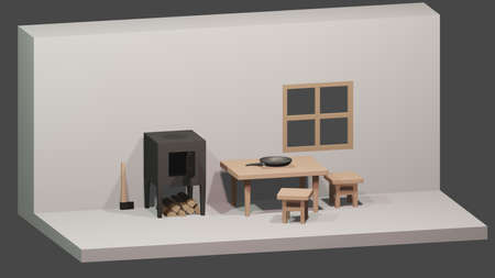 Hut interior. 3d isometric low poly room. Wooden table, stools, wood stove and cleaver.