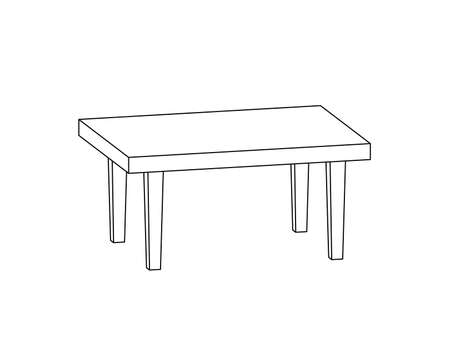 Table. Isometric outline 3d model. Vector illustration isolated on white background