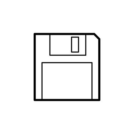 Floppy disk outline icon in flat design style. Diskette linear vector illustration isolated on white background 矢量图像