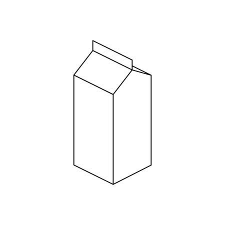 Milk carton box. 3d isometric outline icon. Milk package thin line vector illustration isolated on white background. Editable stroke