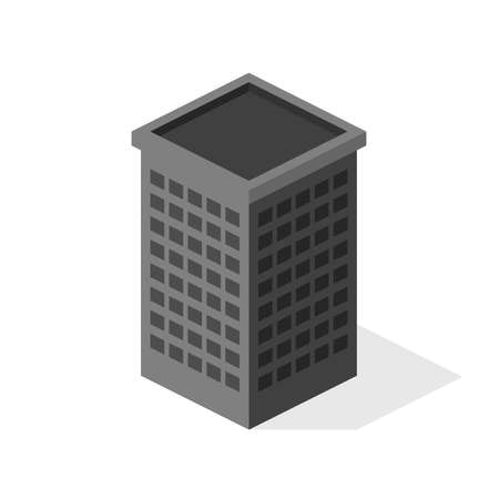 3d isometric office building. Vector illustration isolated on white background