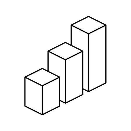 Isometric cubes. 3d graph outline vector icon. Editable stroke 矢量图像