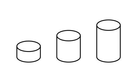 Cylinder 3d isometric outline icons. Linear vector illustration. Editable stroke