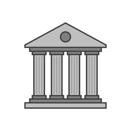 Ancient historical building with columns icon, flat design style. Vector illustration
