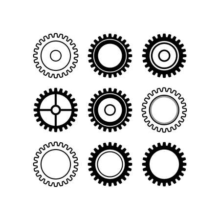 Gear icon set, flat design style. Cogwheel vector illustration 矢量图像