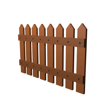 Wooden fence. 3D render isolated on white background. Low poly 3d model