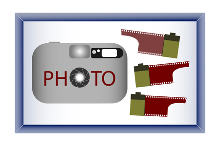 camera film: camera and film in the photo frame Illustration