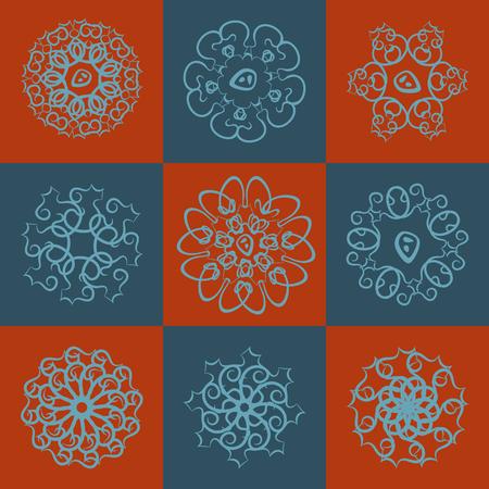 curls: set of color round curls Illustration