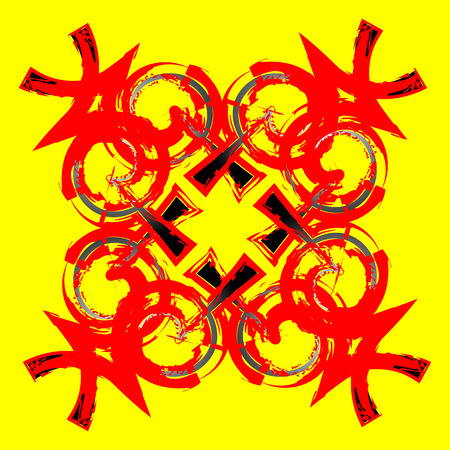inscrutable: a mysterious red and black tracery on a yellow background