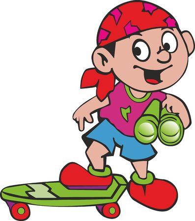 Vrolijke jongen in bandana op hoofd met skateboard en verrekijkers Stock Illustratie