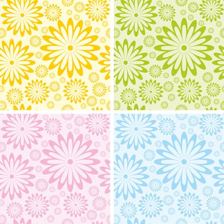 Round flowers with petals seamless background