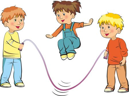 Vector illustration of funny kids playing