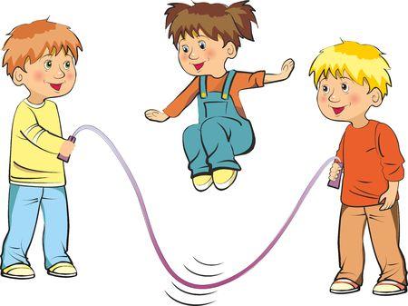 Vectorillustratie van grappige kinderen spelen