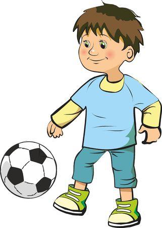Little boy playing football 일러스트
