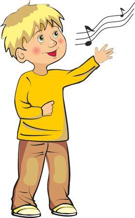 animated boy: little boy sings song