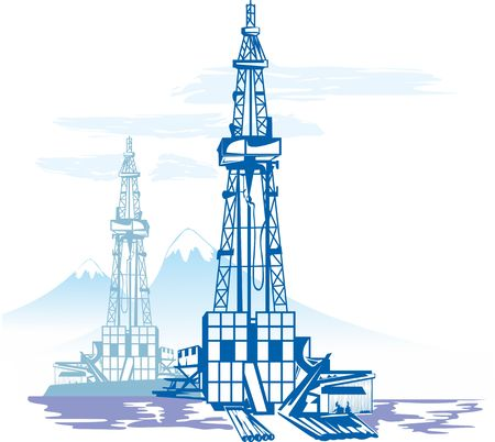 Oil and gas production, drilling rig Against the background of mountains