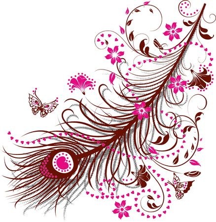 Peacock Feather with Flowers, Butterflies and Hearts. Illustration