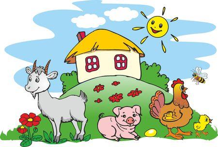 Ukrainian village - house and pets, animals on farm Illustration