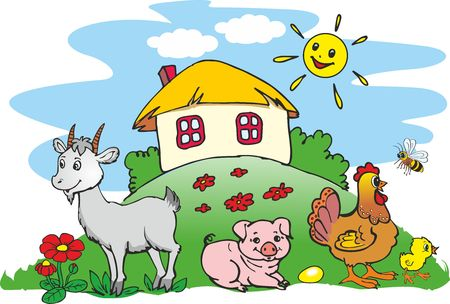 Ukrainian village - house and pets, animals on farm Vectores