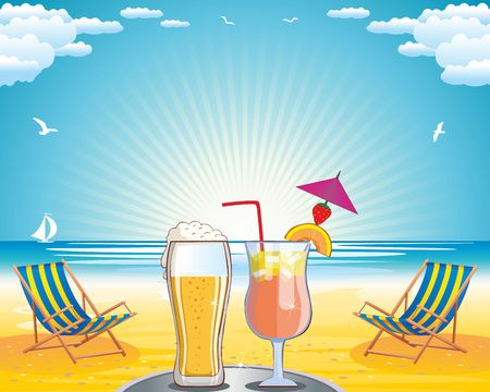 Summer vacation on the sea coast background Illustration