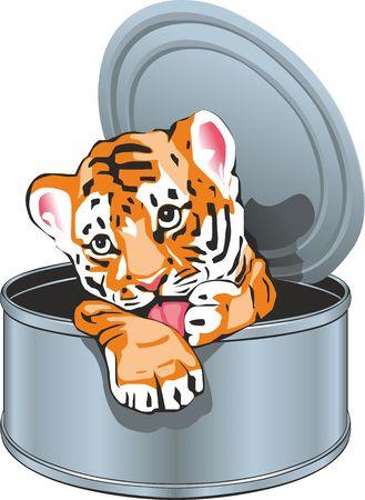 A tiger cub sits in a tin can Çizim