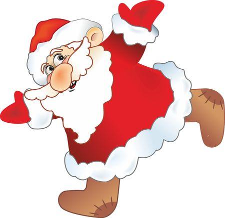 cheerful Santa Claus running