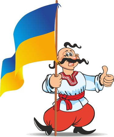 Ukrainian Cossack in ethnic dress with the flag of Ukraine