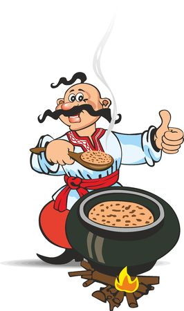 Ukrainian Cossack in national clothes preparing food at picnic Иллюстрация