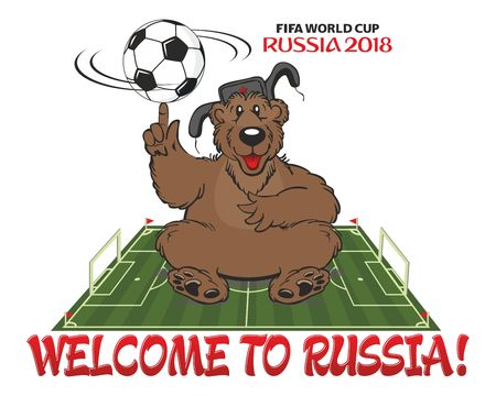Russian bear in a cap with earflaps sitting on a football field. Design for football championship 2018