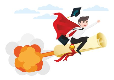 Start-up. Young man - graduate of the school flies on scroll of diploma as on rocket Illusztráció