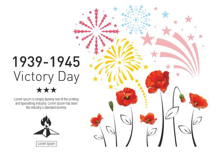 Victory Day in the Second World War. Red poppies on the background of festive fireworks. The text with the stars and eternal fire. 矢量图像