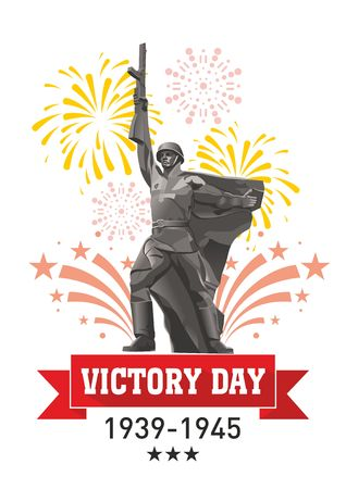 Victory Day in World War II greeting card. Soldier-winner with a gun on the background of festive fireworks.