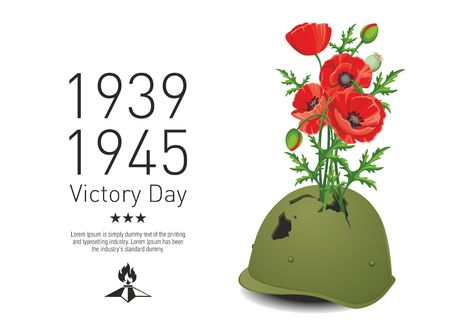 Victory Day in the Second World War. Red poppies grow from pierced military helmet. Illustration
