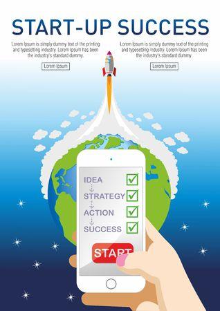 Startup concept. Flat design. - IllustrationBig Data, Computer Monitor, Computer, Smartphone, Startup stages Illustration