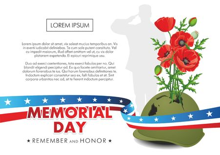 Memorial Day. Red poppies grow from pierced military helmet. Stok Fotoğraf - 101680039