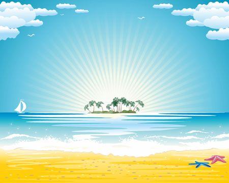 Fondo de vacaciones de verano, hermosas vacaciones en la playa e isla paradisíaca en el horizonte