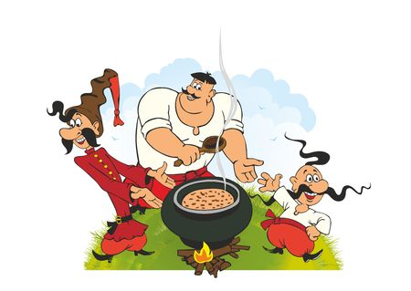 Ukrainian Cossacks Picnic - Cossacks have lunch on the grass and have fun Ilustração