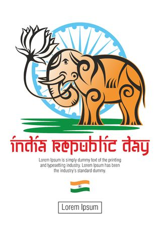 india republic day greeting card in abstract style - an elephant with a lotus flower in the color of the national flag of independent India