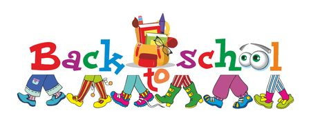 Back to school cartoon illustration - view of the feet of children who go to school one after another Illustration